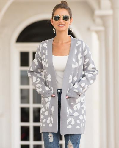 Gray Mid-length leopard-print cardigan sweater