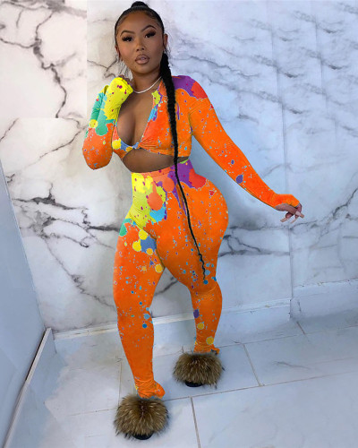 Orange Two-piece trousers slit women's colorful ink printing two-piece suit