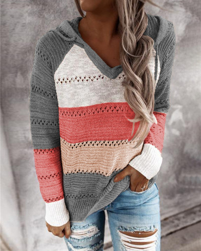 Gray Striped stitching ladies drawstring knitted sweater
