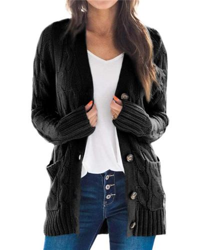 Black Cardigan coat solid color twist button cardigan sweater