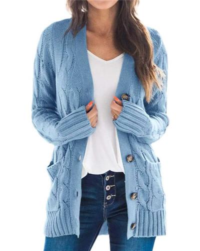 Blue Cardigan coat solid color twist button cardigan sweater