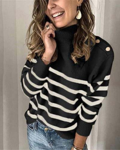 Black High neck pullover strap studded striped sweater