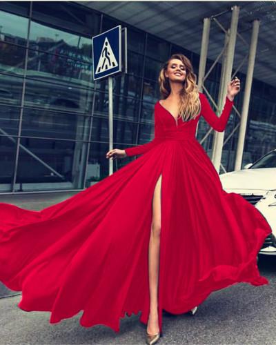 Red Sexy Deep V Long Sleeve Dress