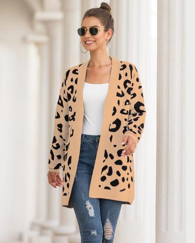 Khaki Mid-length leopard-print cardigan sweater