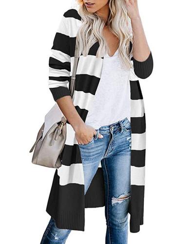 Black Contrast stripes long cardigan women's sweater