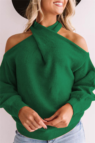 Green Sexy cross wrap chest open back sweater