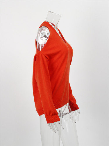 Red Sexy cross wrap chest open back sweater