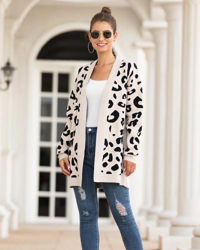 Apricot Mid-length leopard-print cardigan sweater