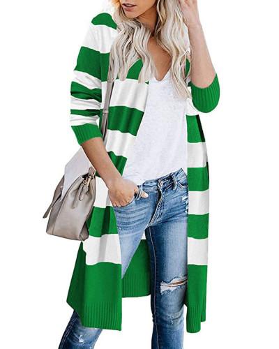 Green Contrast stripes long cardigan women's sweater