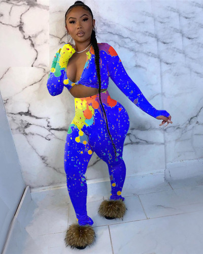 Bule Two-piece trousers slit women's colorful ink printing two-piece suit