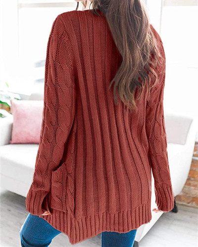 Red Cardigan coat solid color twist button cardigan sweater