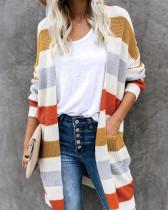 Yellow Long colorblock pocket knit cardigan
