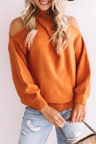 Orange Sexy cross wrap chest open back sweater