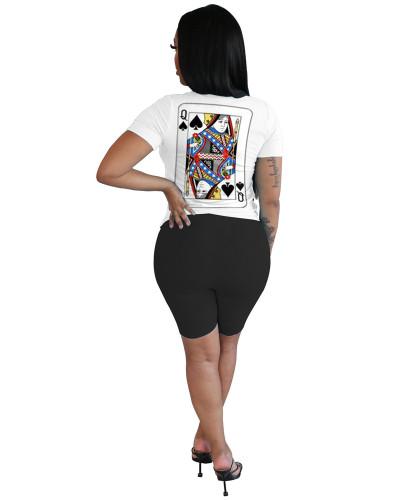 Black Poker element Q letter digital printing summer two-piece suit