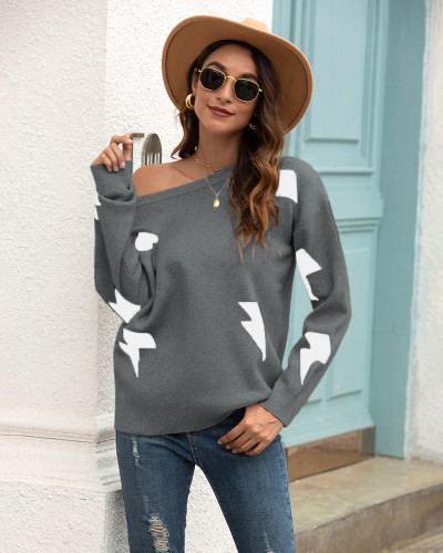 Dark Gray Printed crew neck sweater