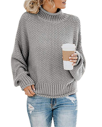 Gray Thick thread turtleneck pullover