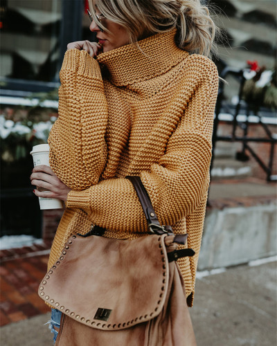 Khaki Long sleeve turtleneck pullover