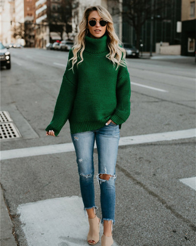 Green Long sleeve turtleneck pullover