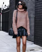 Pink Long sleeve turtleneck pullover