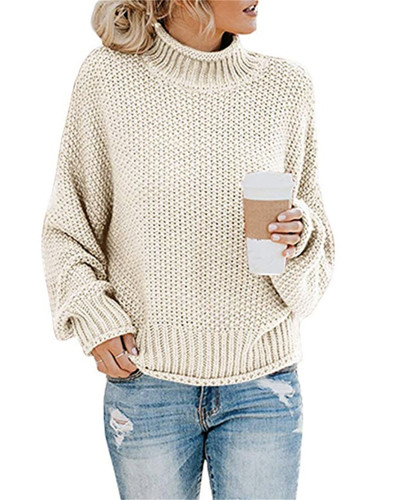 Apricot Thick thread turtleneck pullover