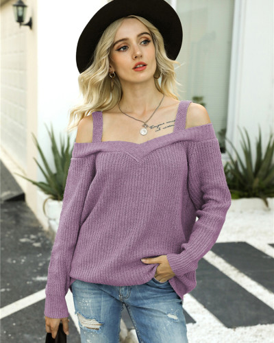 Purple Off-the-shoulder sweater solid color casual long-sleeved sweater