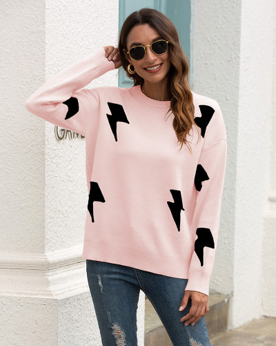 Pink Printed crew neck sweater