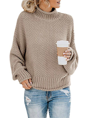 Brown Thick thread turtleneck pullover