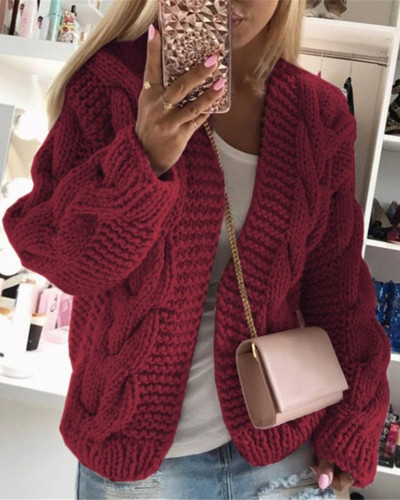 Red Thick thread twist knit cardigan sweater