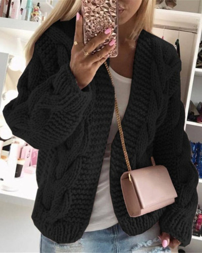 Black Thick thread twist knit cardigan sweater