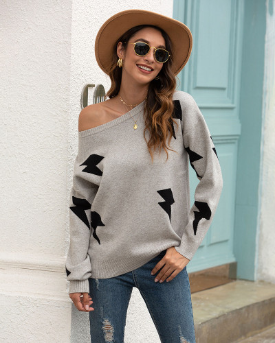Light Gray Printed crew neck sweater
