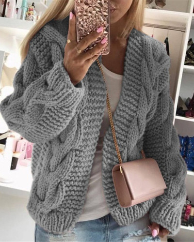 Gray Thick thread twist knit cardigan sweater