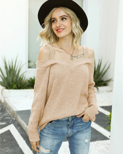 Khaki Off-the-shoulder sweater solid color casual long-sleeved sweater