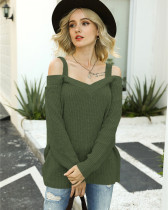 Green Off-the-shoulder sweater solid color casual long-sleeved sweater
