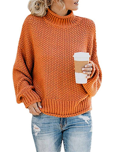 Orange Thick thread turtleneck pullover