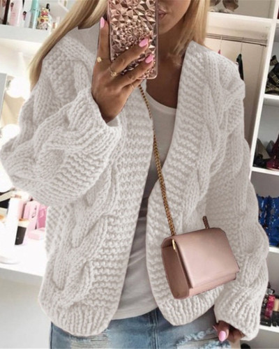 White Thick thread twist knit cardigan sweater