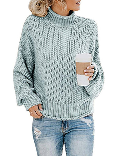 Blue Thick thread turtleneck pullover
