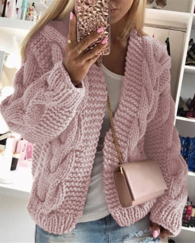 Pink Thick thread twist knit cardigan sweater