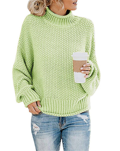 Green Thick thread turtleneck pullover
