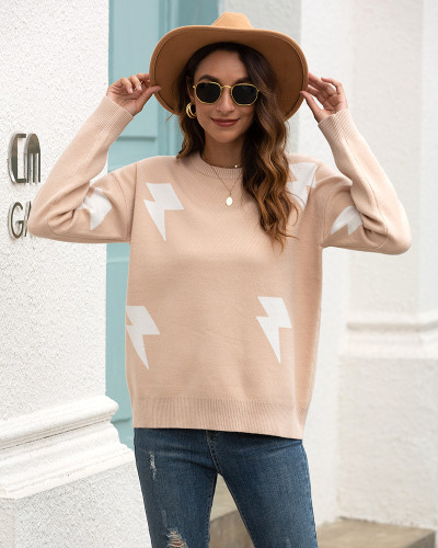 Khaki Printed crew neck sweater