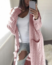 Pink Long double pocket full body twist sweater cardigan