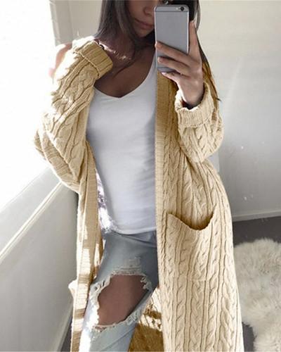 Khaki Long double pocket full body twist sweater cardigan