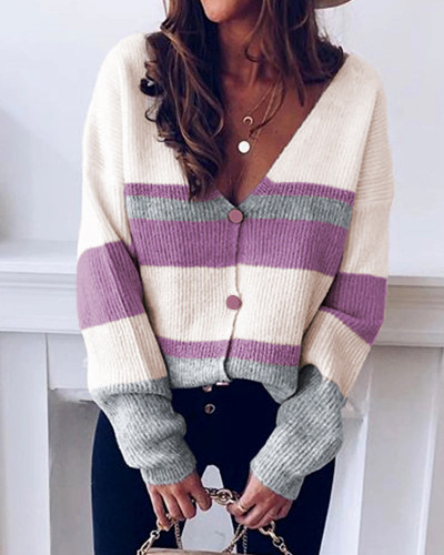 Red Button striped stitching sweater