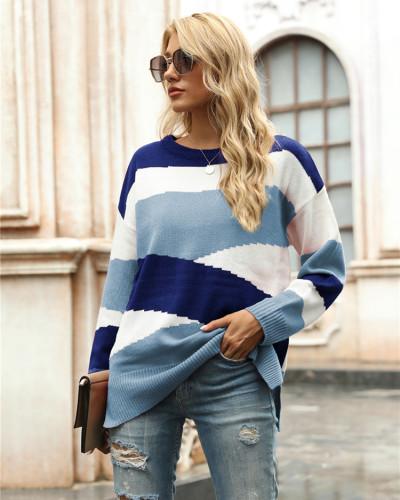 Blue Irregular stripes color block pullover