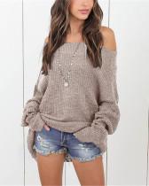 Khaki Plus size sweater women off-shoulder sweater
