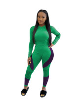 Green  Leisure sports suit printed letter two-piece suit