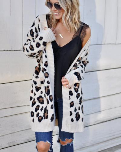 White Fashion three-color leopard sweater cardigan