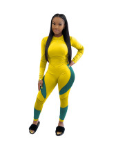 Yellow Leisure sports suit printed letter two-piece suit