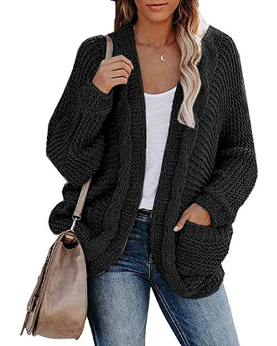 Black Casual twisted rope bat sleeve sweater coat
