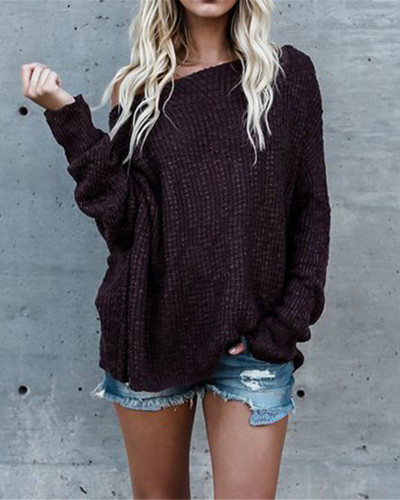 Red Plus size sweater women off-shoulder sweater