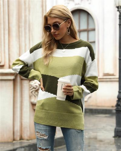 Green Irregular stripes color block pullover